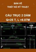 Bản vẽ thiết kế kỹ thuật cầu trục 2 dầm – Q=25T, L=8.87m