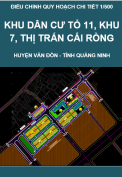 Điều chỉnh quy hoạch chi tiết 1/500 khu dân cư tổ 11, khu 7, thị trấn Cái Rồng, huyện Vân Đồn