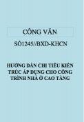 Công văn 1245/BXD-KHCN Hướng dẫn chỉ tiêu kiến trúc áp dụng cho công trình cao tầng