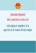 Nghị định số 188/2013/NĐ-CP Về phát triển và quản lý nhà ở xã hội