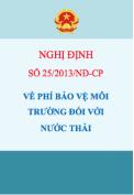 Nghị định số 25/2013/NĐ-CP Về phí bảo vệ môi trường đối với nước thải