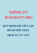Quyết định 06/2010/QĐ-BKH Quy định chi tiết lập hồ sơ mời thầu dịch vụ tư vấn