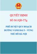 Quyết định số 561/QĐ-TTg Phê duyệt quy hoạch chi tiết đường Vành đai 5 – Vùng Thủ đô Hà Nội