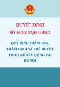 Quyết định số 56/2013/QĐ-UBND Ban hành quy định thẩm tra, thẩm định, phê duyệt thiết kế xây dựng tại Hà Nội