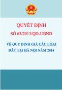 Quyết định số 63/2013/QĐ-UBND Quy định về giá các loại đất tại Hà Nội năm 2014