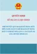 Quyết định số 88/2013/QĐ-UBND - Phê duyệt quy hoạch sử dụng đất đến năm 2020 và kế hoạch sử dụng đất 5 năm kỳ đầu (2011-2015) xã An Lão, huyện Bình Lục.