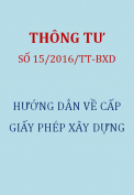 Thông tư 15/2016/TT-BXD Hướng dẫn về cấp giấy phép xây dựng