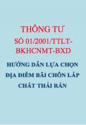 Thông tư số 01/2001/TTLT-BKHCNMT-BXD Hướng dẫn các quy định bảo vệ môi trường với việc chọn lựa bãi chôn lấp chất thải rắn
