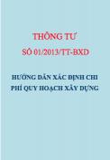 Thông tư số 01/2013/TT-BXD Hướng dẫn xác định chi phí quy hoạch xây dựng