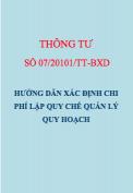 Thông tư số 07/2011/TT-BXD Hướng dẫn xác định chi phí lập quy chế quản lý quy hoạch