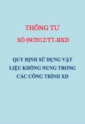 Thông tư số 09/2012/TT-BXD Quy định sử dụng vật liệu không nung trong công trình