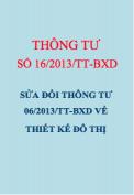 Thông tư số 16/2013/TT-BXD sửa đổi thông tư 06/2013/TT-BXD về thiết kế đô thị