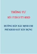 Thông tư số 17/2013/TT-BXD Hướng dẫn xác định chi phí khảo sát xây dựng