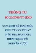 Thông tư số 20/2009/TT-BTNMT Quy định định mức Kinh tế kỹ thuật điều tra, đánh giá hiện trạng tài nguyên nước
