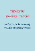 Thông tư số 973/2001/TT-TCĐC Hướng dẫn áp dụng hệ toạ độ Quốc gia VN2000