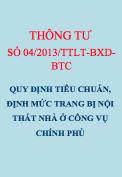 TT 04/2013/TTLT-BXD-BTC Quy định tiêu chuẩn, định mức trang bị nội thất cơ bản nhà ở công vụ của Chính phủ