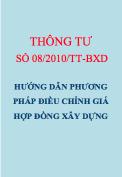 TT 08/2010/TT-BXD Hướng dẫn phương pháp điều chỉnh giá hợp đồng xây dựng