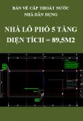 Bản vẽ cấp thoát nước Nhà lô phố 5 tầng - Diện tích: 89,5m2