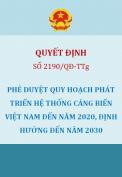 Quyết định 2190/2009/QĐ-TTg Phê duyệt quy hoạch phát triển hệ thống cảng biển Việt Nam đến năm 2020, định hướng đến năm 2030