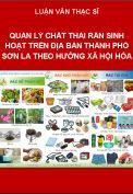 Quản lý chất thải rắn sinh hoạt trên địa bàn Thành phố Sơn La theo hướng xã hội hóa