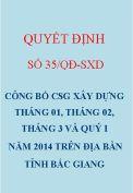 Chỉ số giá xây dựng Bắc Giang tháng 01, 02, 3 và quý I năm 2014