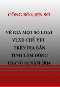 Công bố liên sở  về giá một số loại VLXD chủ yếu trên địa bàn tỉnh Lâm Đồng tháng 1 năm 2014