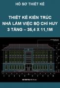 Thiết kế kiến trúc nhà làm việc Bộ chỉ huy 3 tầng – 35,4 x 11,1M