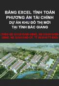 Bảng Excel tính toán phương án tài chính dự án đầu tư khu đô thị mới ở Bắc Giang