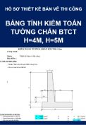 Bảng tính kiểm toán tường chắn BTCT H=4m, H=5m