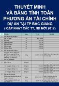 Thuyết minh và bảng tính toán phương án tài chính dự án tại Thành phố Bắc Giang (cập nhật các thông tư, nghị định năm 2017)