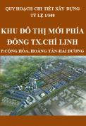 Quy hoạch chi tiết xây dựng tỷ lệ 1/500 Khu đô thị mới phía Đông thị xã Chí Linh - tỉnh Hải Dương
