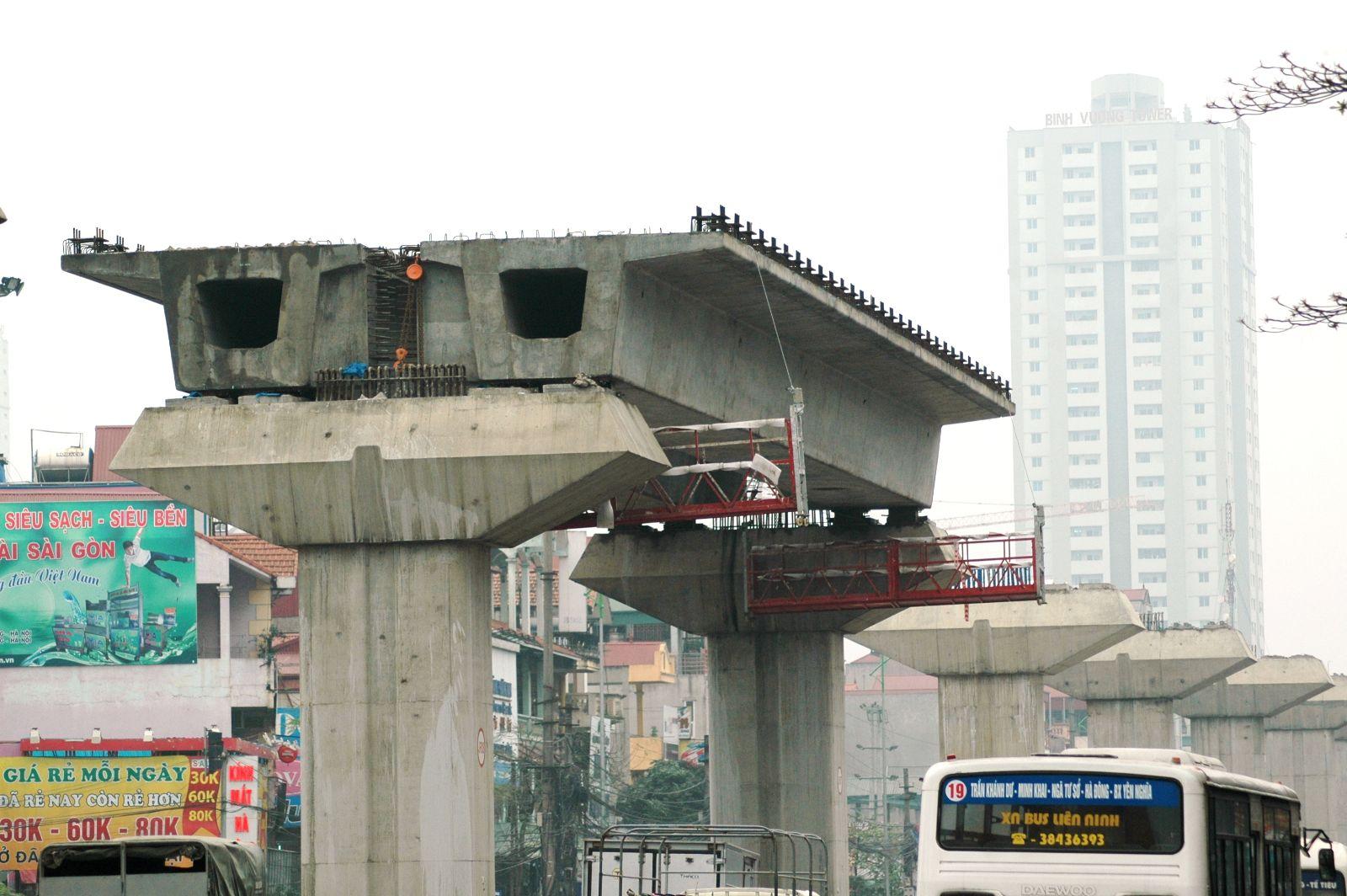 Những hình ảnh đầu tiên lao dầm đường sắt đô thị Hà Đông - Cát Linh 6